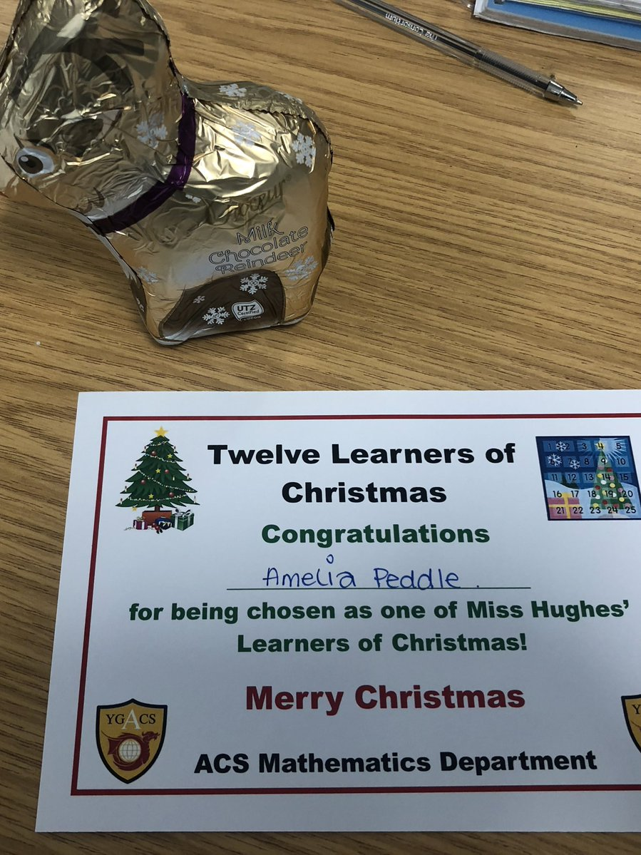 Congratulations to Amelia in Year 9 for being chosen as my sixth learner of Christmas Amelia has made significant improvements and worked really hard in DIRT time today #Mathematics #HardWorkPaysOff