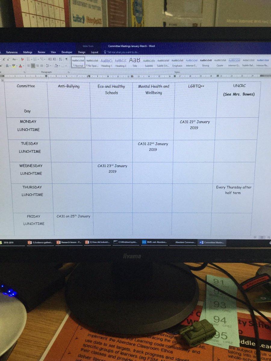 New sub-committee timetable #yourschoolyourvoice