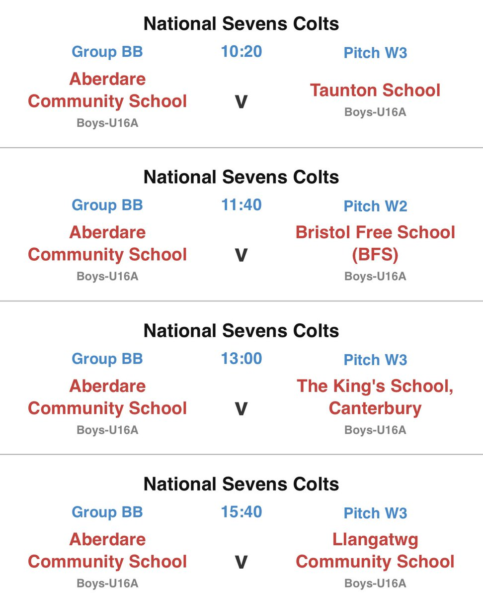 Year 11 draw for @RPNS7 - tough group but excited for the challenge.