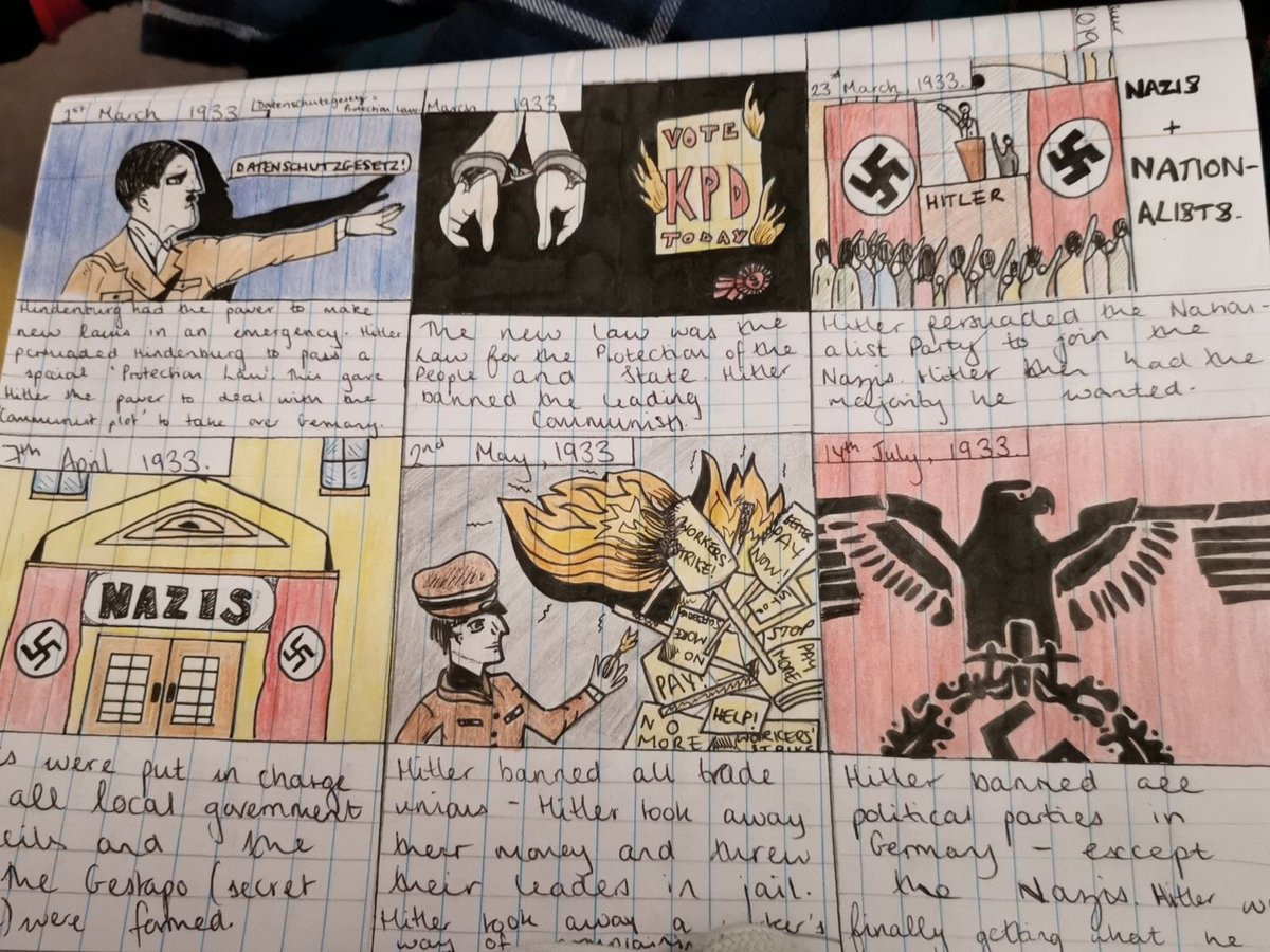 What a superb storyboard of Hitler's rise to power by Evie in Year 10! #proudteacherofACS