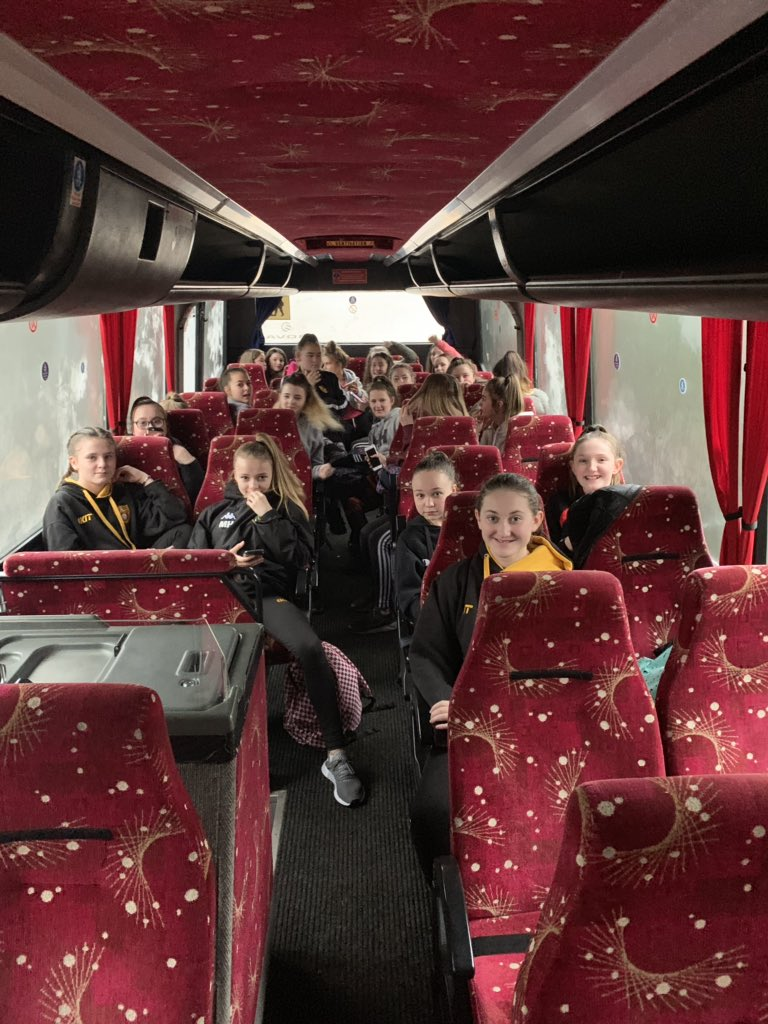 Girls all on the bus ready for a fun filled day down @USWRugby for WRU's #RookieRugby event. They can't wait. #girlscan #rugbyforall