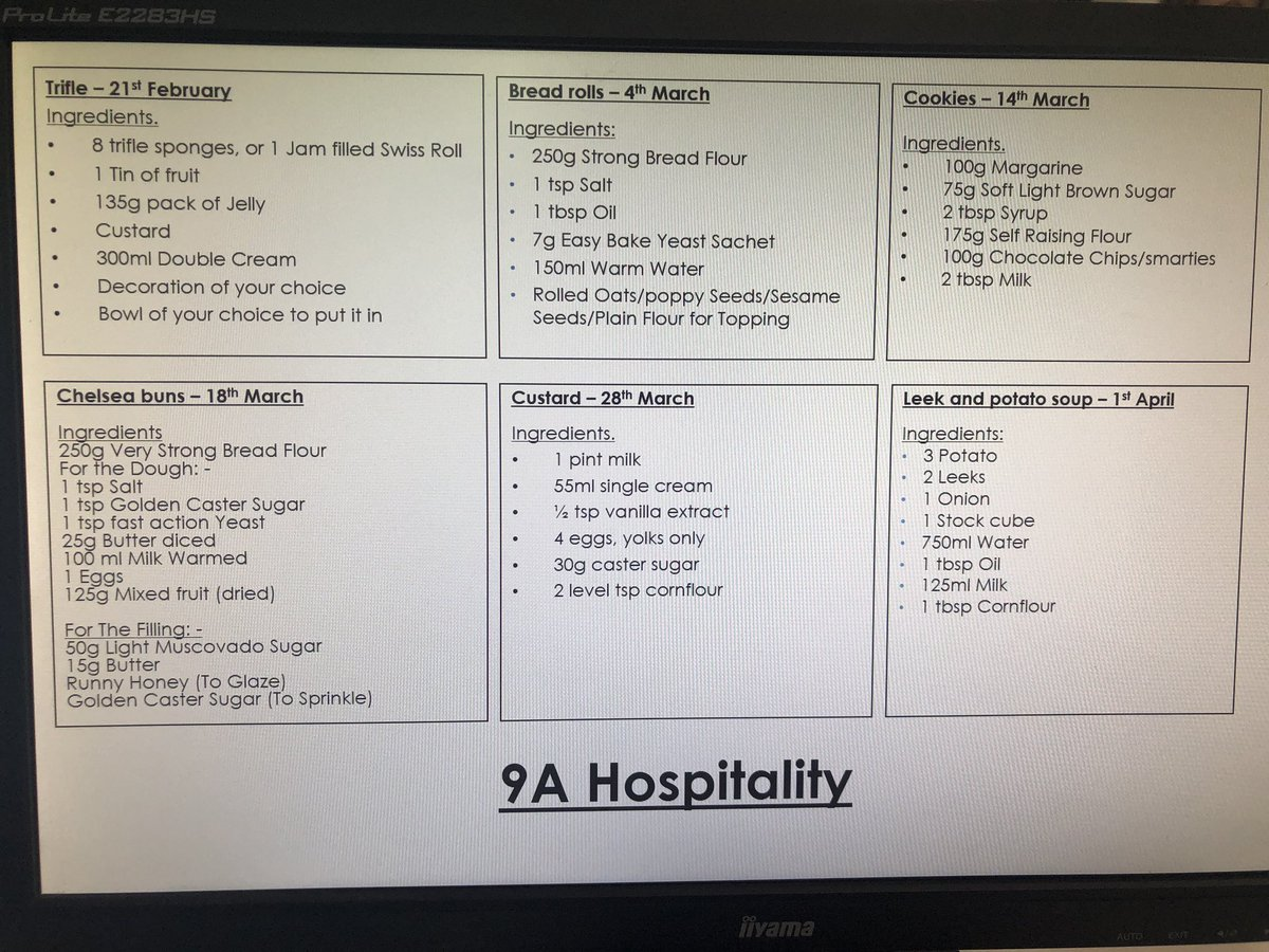 9A Hospitality - dates for your diary. Time to get organised