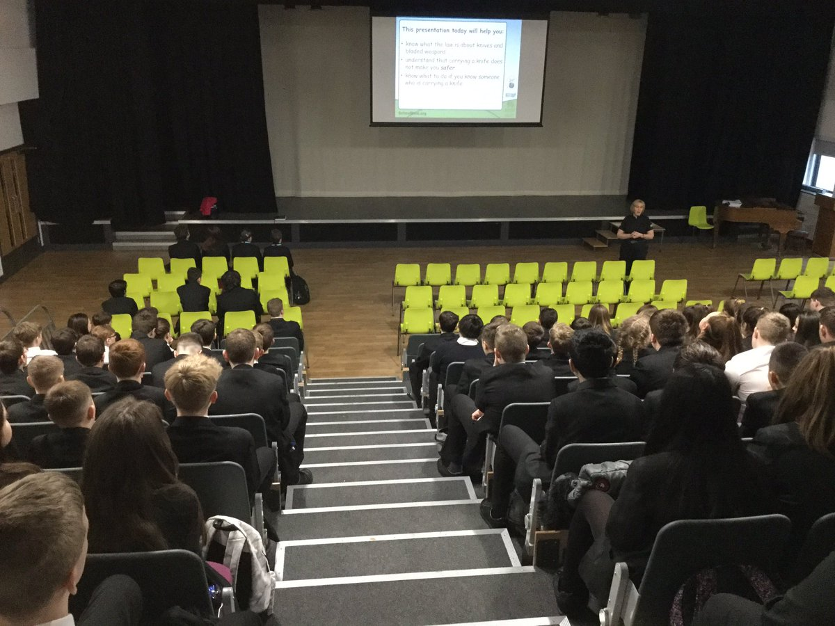 Year 9 having an assembly from PCPrice on the dangers of knife crime @SWPCynon #schoolbeat