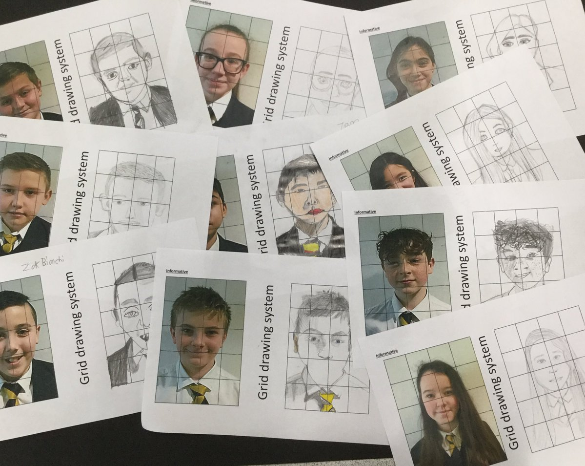 Excellent work by 7G1 today! Can't wait to see these self portraits completed and developed. Ardderchog! @ACSYear7