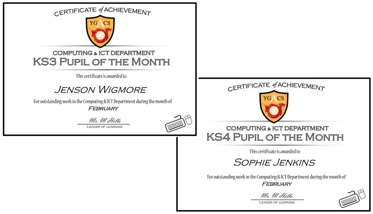 Congratulations to our pupils of the month for February. KS3: Jenson, for all his progress and contributions to extra curricular activities within the department. KS4: Sophie, going above and beyond to help others while completing her Level 2 work to a high standard. Well Done!