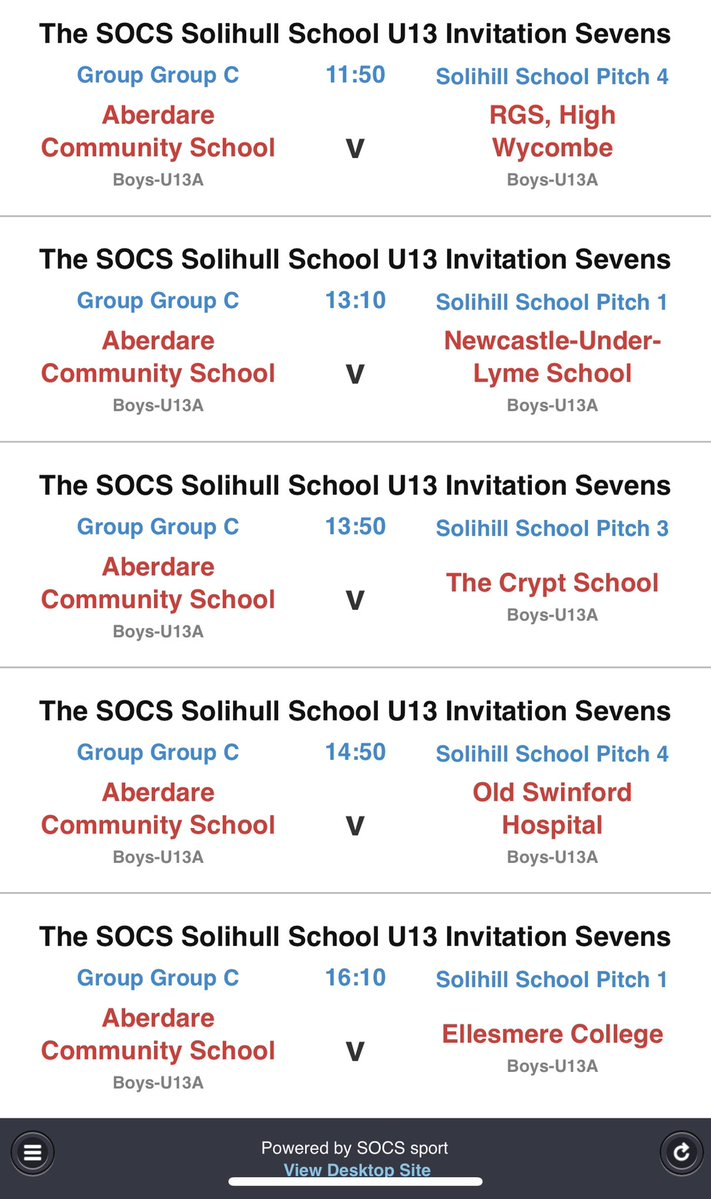 Today's fixtures, some top oppositon yet again. The boys are excited for the opportunity and challenge