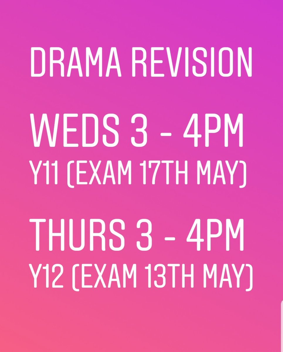 Now that our Pracs are over, it is time to revise those plays! An extra chance to grab resources, rewatch theatre clips or just seek some support! Continues next week in ca29...