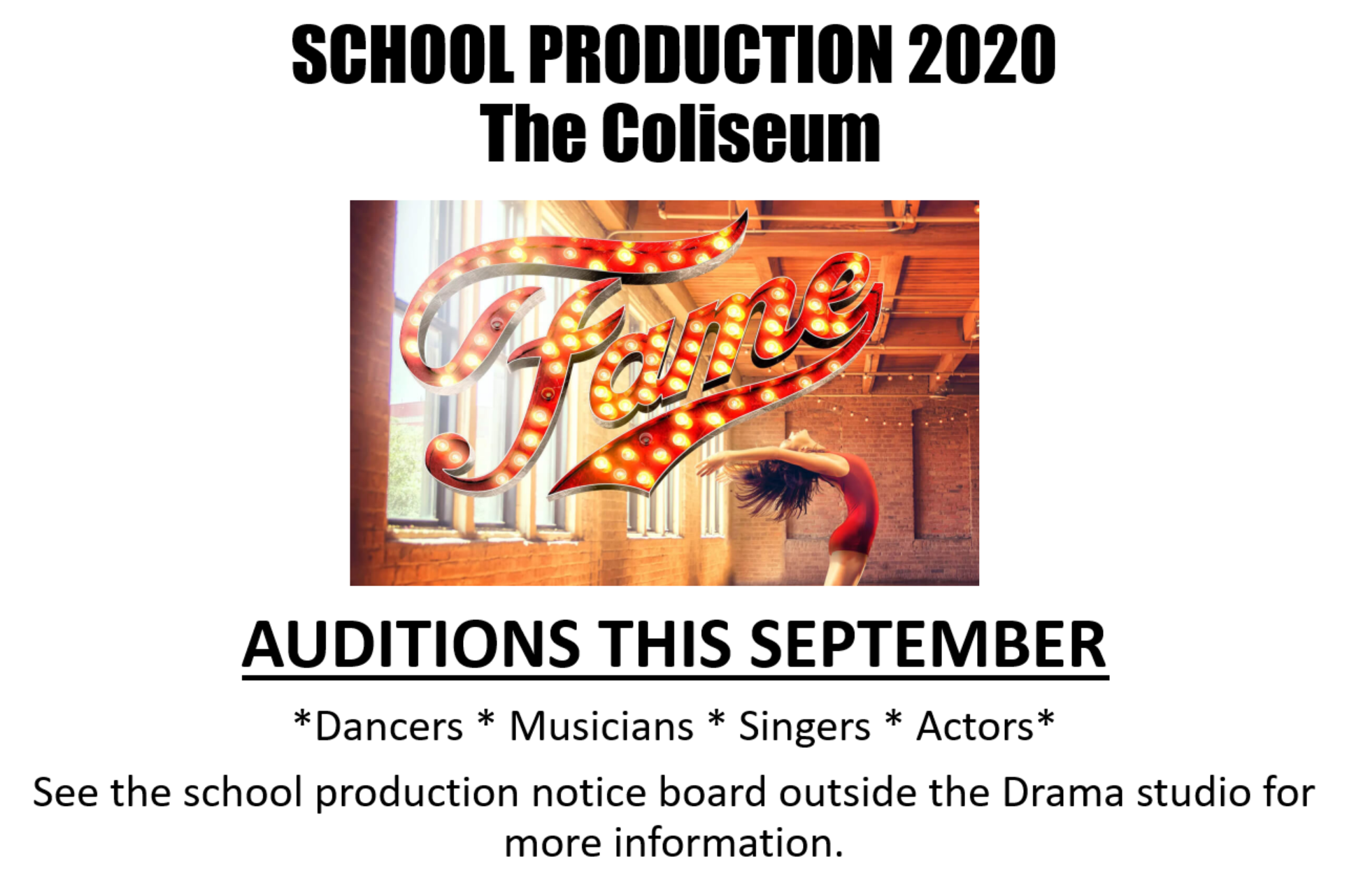 Very excited to announce our 6th school production! We will be bringing Fame to Aberdare in 2020! See the CA29 notice board for show info over the next two days. Auditions will be held in September!
