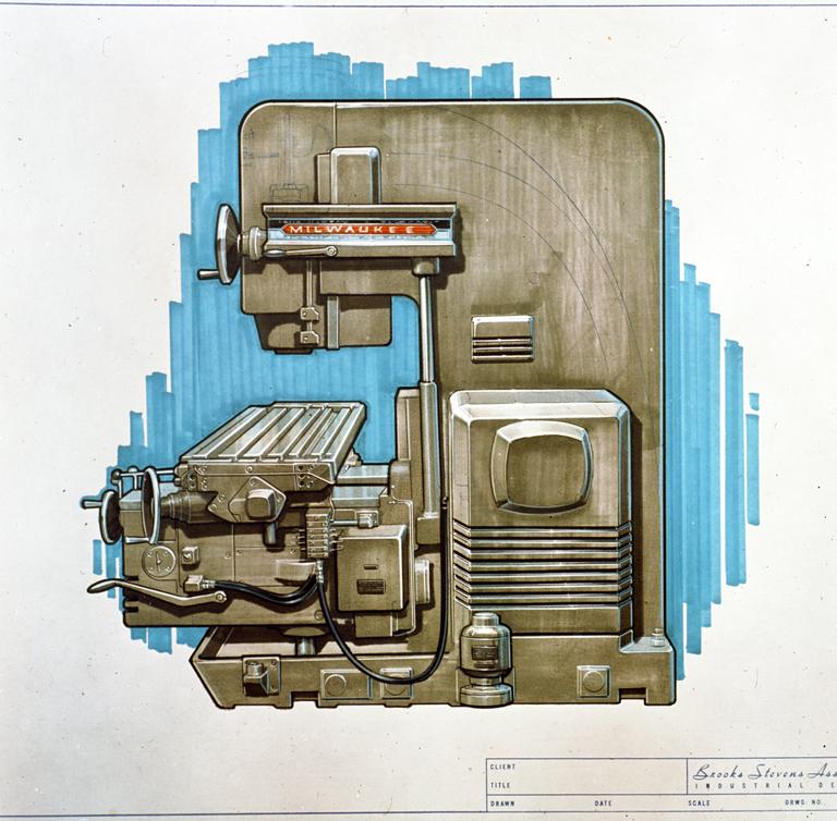 Fig 3 -Brooks Stevens Office, felt-tip rendering for the Milwaukee-Matic, machine tool, n.d.