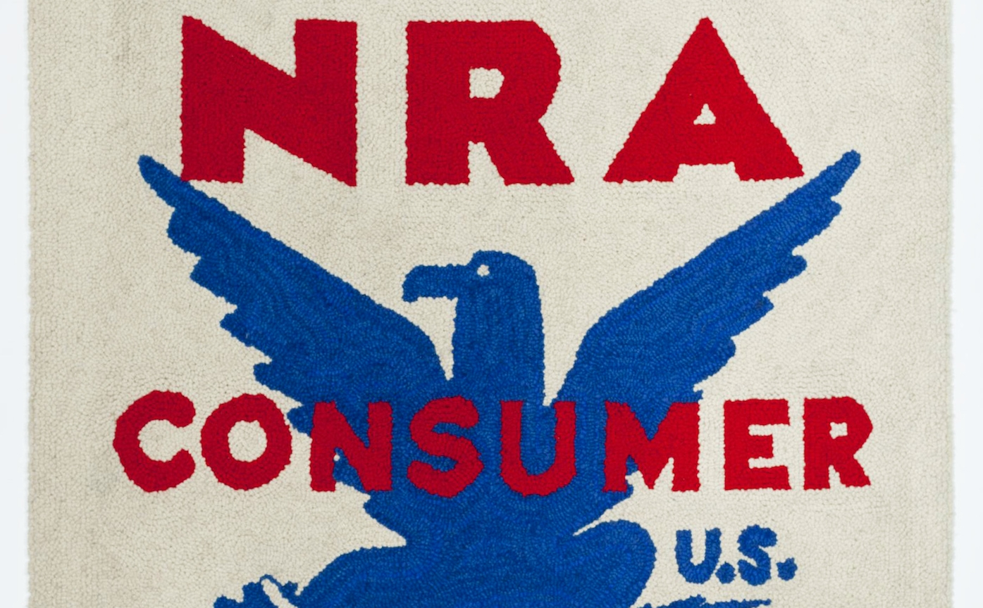 "Dorothy Grebenak, ""NRA Tapestry (National Recovery Administration)"" (1963), wool, 54 x 41 in. (all images courtesy Allan Stone Gallery and the artist's estate)"