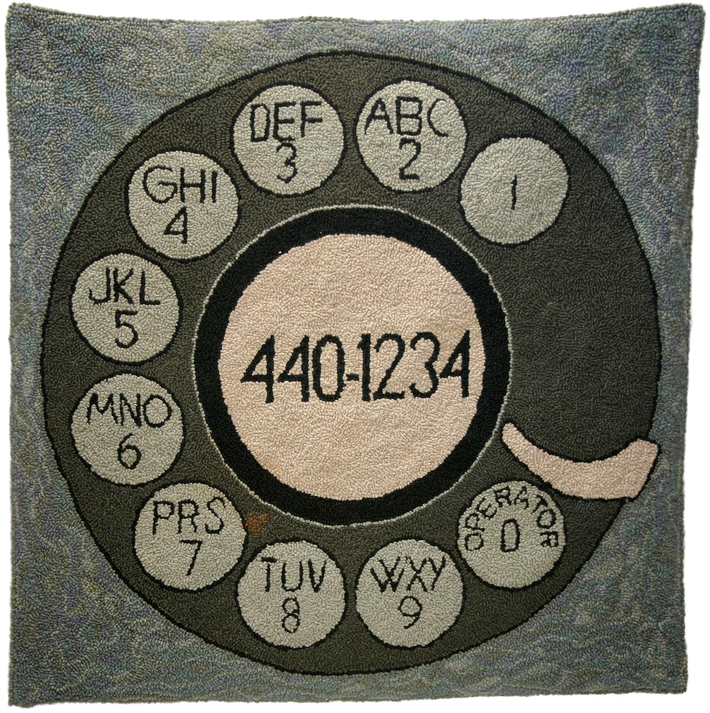 "Dorothy Grebenak, ""440-1234"" (1960s), wool, 41 x 41 in. (Private collection, Europe)"