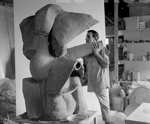 Peter Voulkos in his Los Angeles studio