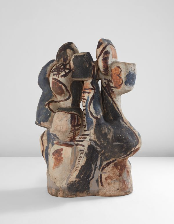 Peter Voulkos,  Rondena , 1958. Stoneware, paddled and constructed wheel-thrown elements, brushed cobalt, iron, and white slips, epoxy.