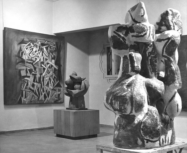 Installation of the exhibition  Ceramics, Sculpture and Paintings by Peter H. Voulkos  at the Pasadena Art Museum. From left to right:  Zapata, Burnt Smog  (aka  Funiculated Smog ),  Rondena . © Voulkos Family Trust, Courtesy of the Voulkos & Co. Catalogue Project.
