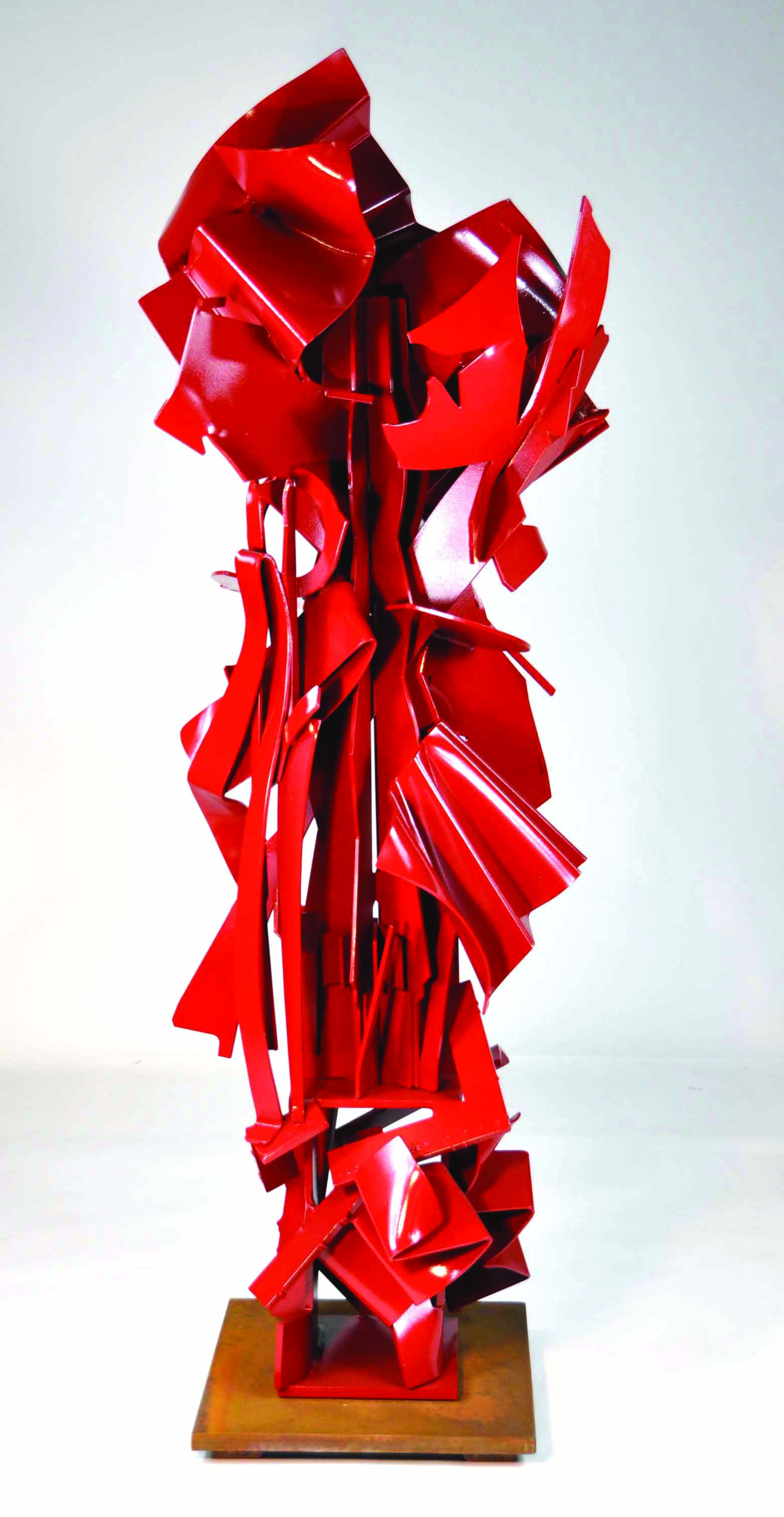 Harlequin ,2013.Formed, fabricated, and painted steel, weathering steels.