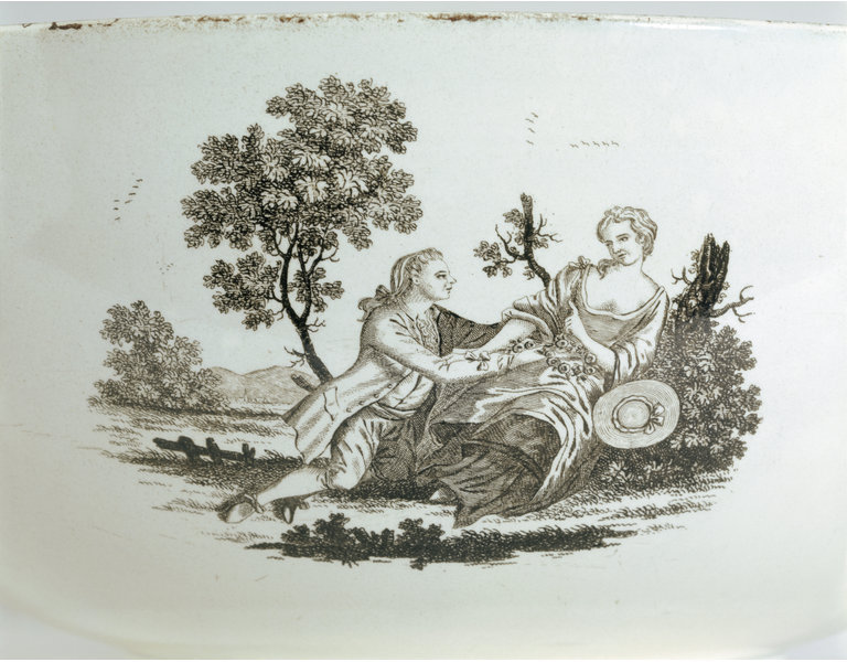 Transfer decoration on an earthenware punchbowl, attributed to the Herculaneum Factory, Liverpool, c. 1800.  Victoria and Albert Museum.