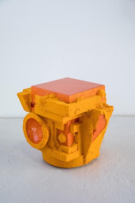Chris Schanck, Decobot , 2018. Wood, polystyrene, resin, nylon fiber.