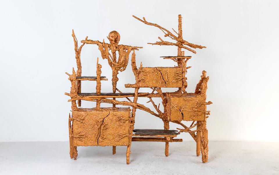 Chris Schanck, Banglatown , 2018. Steel, aluminum, wood, polystyrene, burlap, hide, resin.