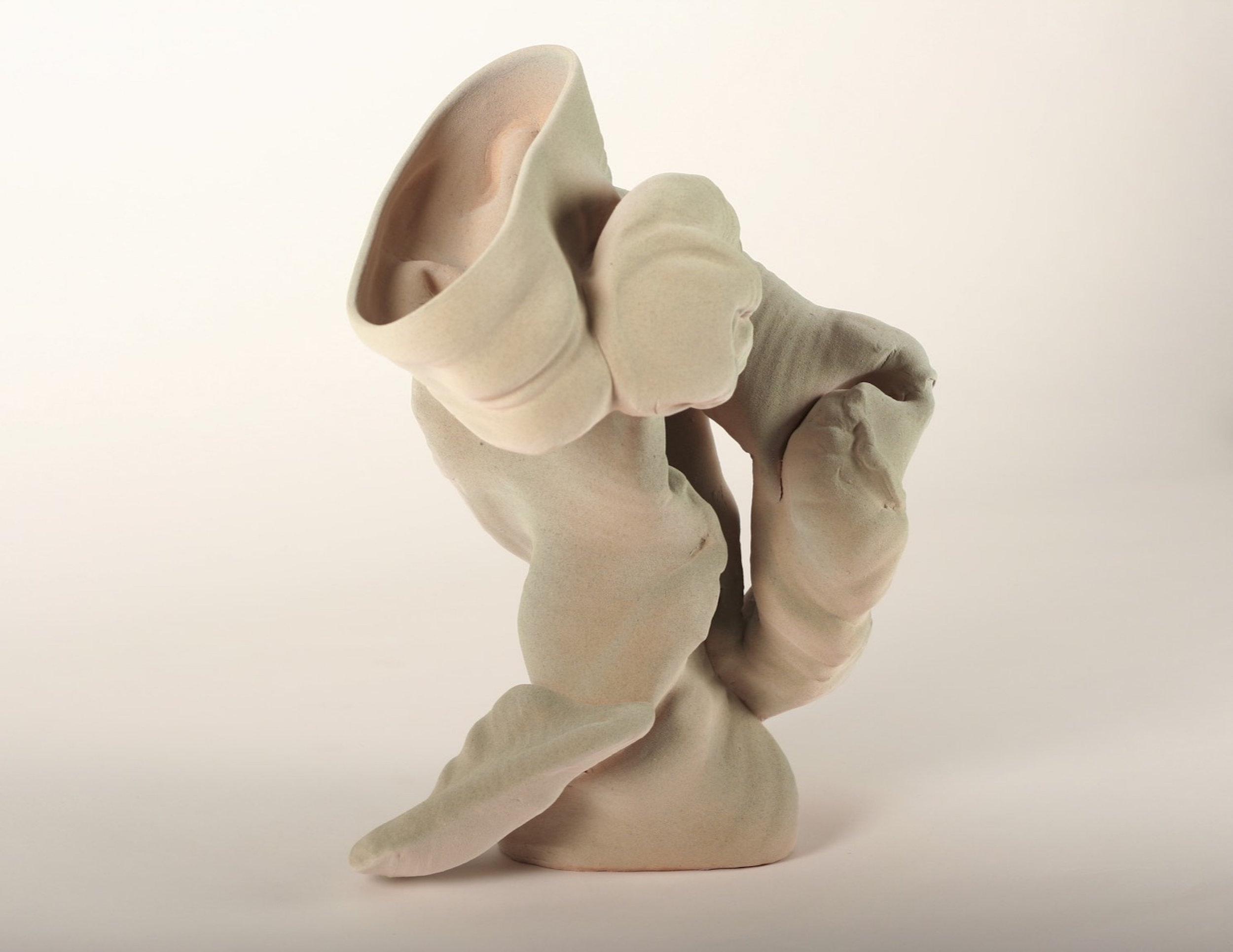 Anne Marie Laureys,  Scaramouche , 2016. Stoneware.