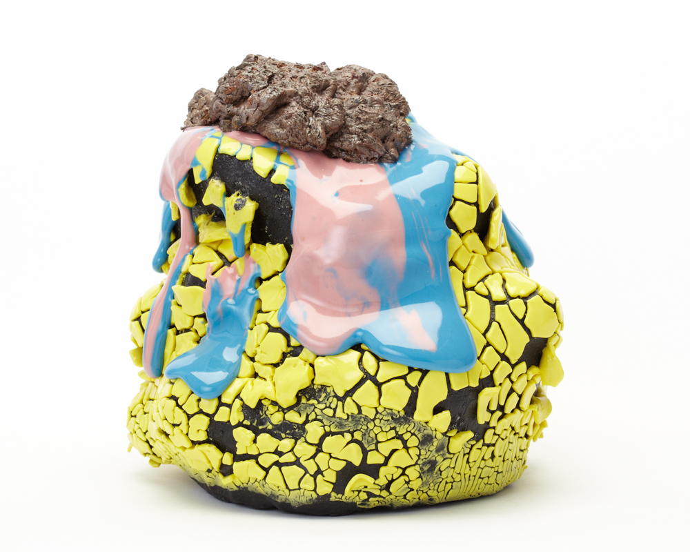 Takuro Kuwata, untitled, 2018. Porcelain, glaze, stone, pigment.