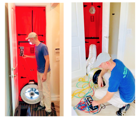 Florida blower door test being conducted by RunBrook, a certified rater