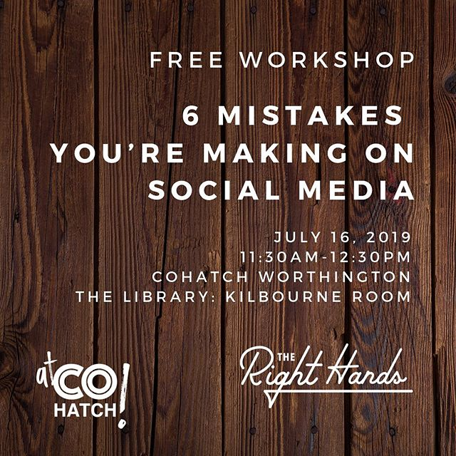 """Join me this Tuesday at the COhatch: Library location in Worthington (the one on the Village Green), for """"6 Mistakes You're Making on Social Media"""" workshop. It's open to the public, just register at the link in my profile."""