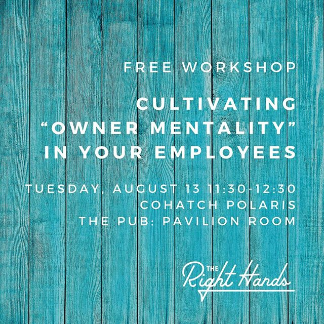 Small business owners want employees to be autonomous self-starter go-getters...but how do you encourage this? We'll work it out at this free workshop! Register at the link in my profile.