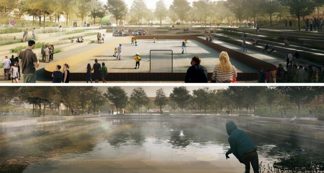 Used for sports in dry weather,     Copenhagen's Enghaveparken   will transform into a pond when it rains.  Illustration: Cowi, Tredje Natur, and Platant