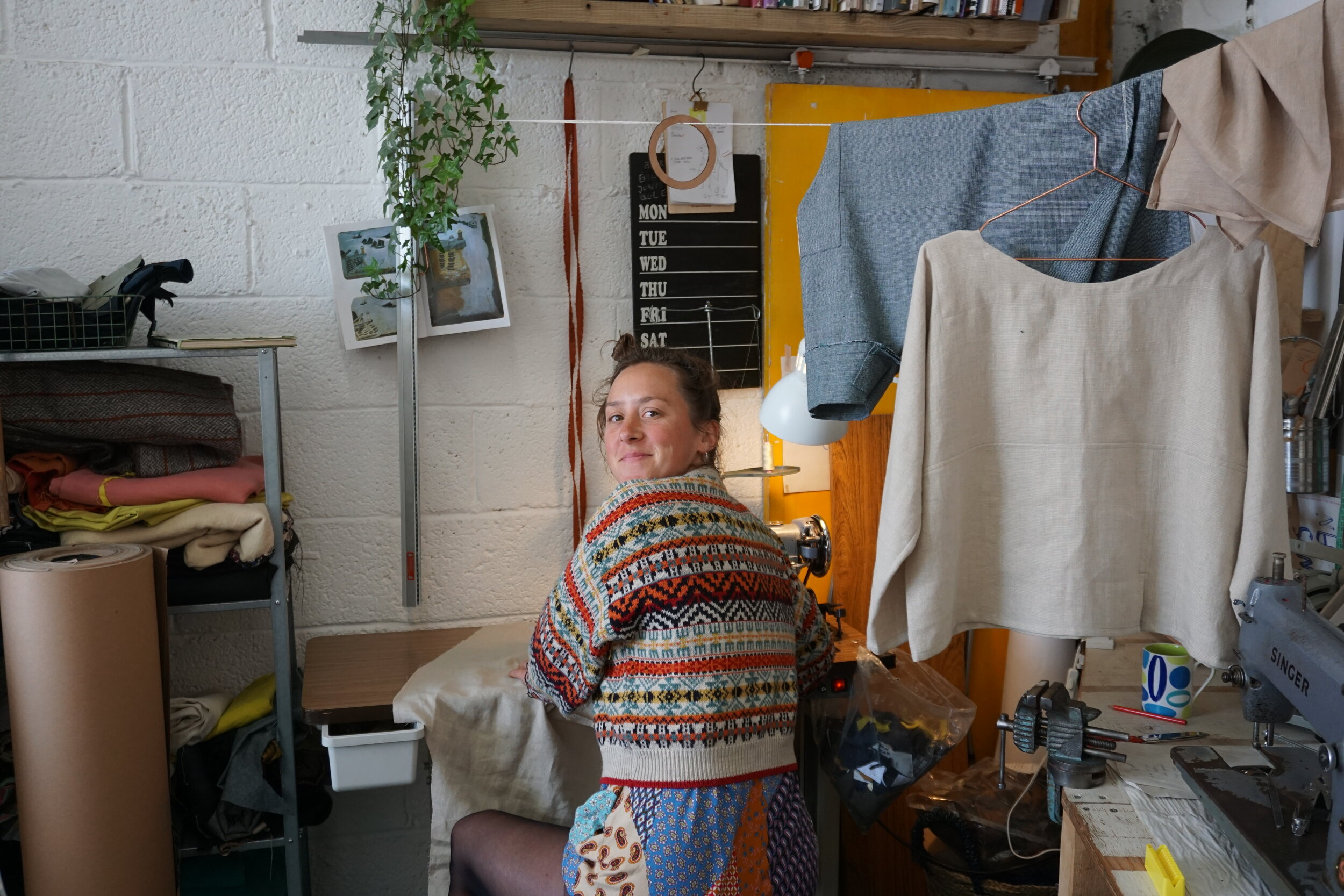 - skilled seamstress Laura griffin helping me sew in the studio!