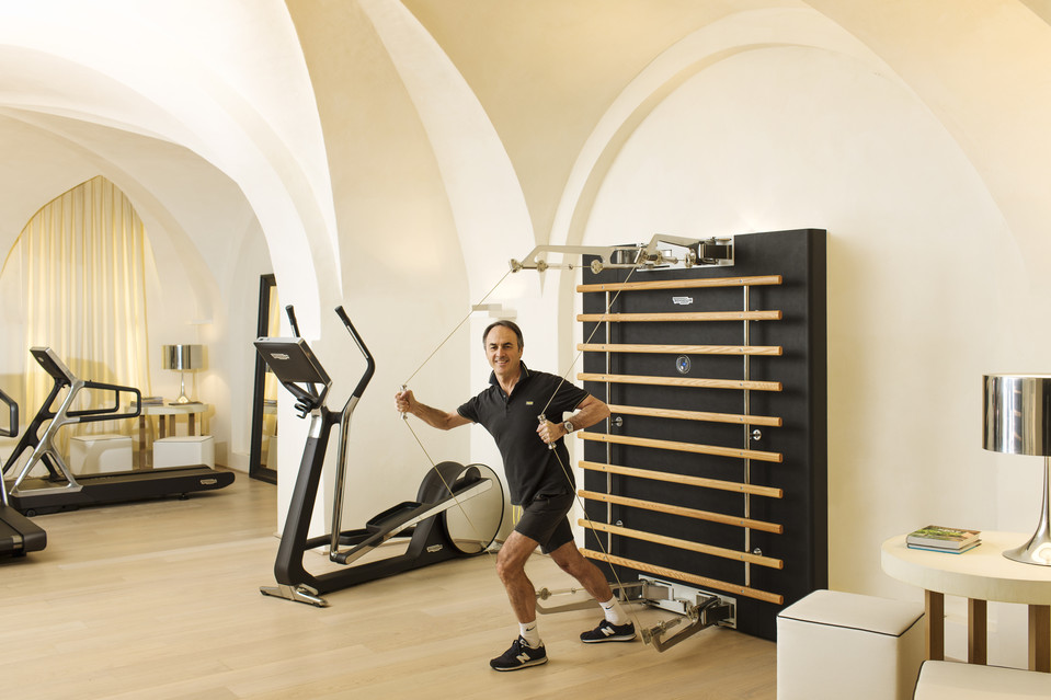 Nerio Alessandri's gym at his home in Cesena, Italy. He wants his home gym to be a place where family and friends enjoy hanging out together. PHOTO: MARCO ONOFRI FOR THE WALL STREET JOURNA