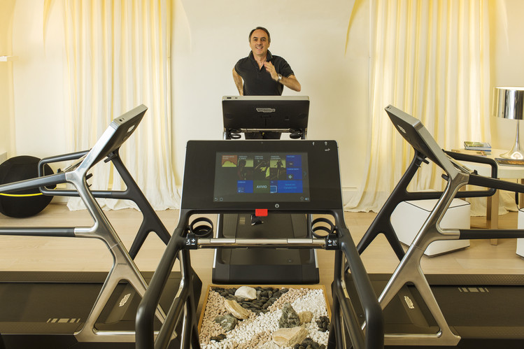 For those with limited space at home for a gym, Mr. Alessandri still recommends putting a piece or two—perhaps a foldable treadmill, elliptical trainer or a station attached to the wall with ropes or straps and handles—in a room where you like spending time. PHOTO: MARCO ONOFRI FOR THE WALL STREET JOURNAL