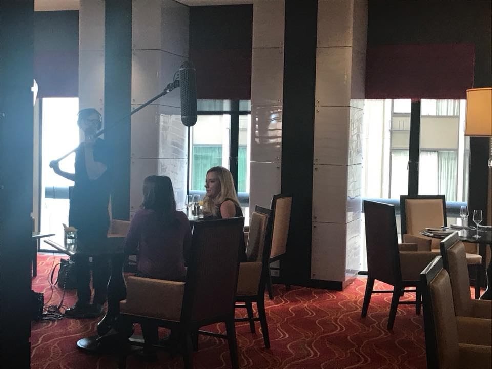 Cofounder Hannah Buschbom filming for InvestmentNews segment.