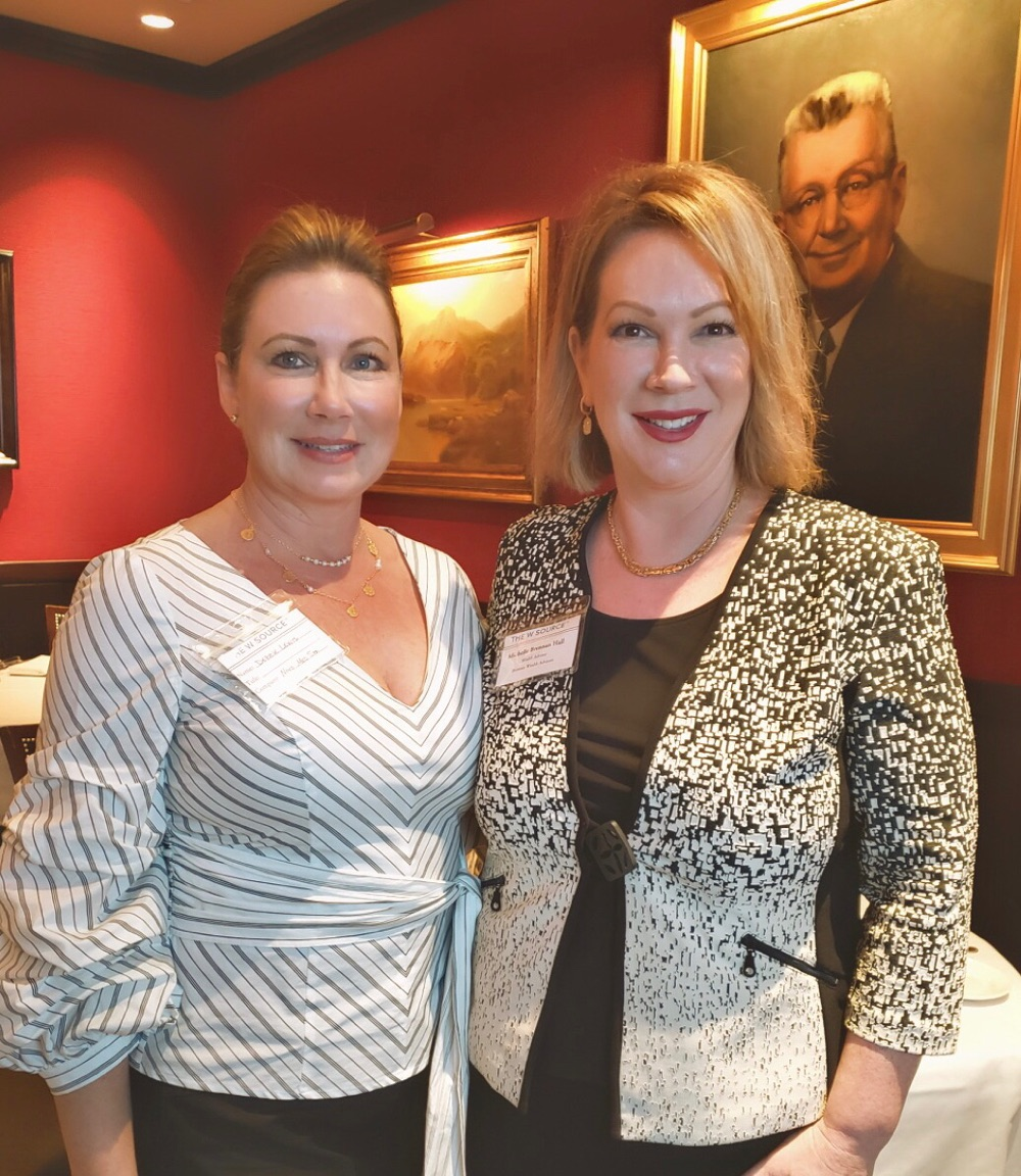 Member Debbie Lewis (left) and Frisco, Plano, Allen, McKinney Chapter Head Michelle Brennan Hall (right).