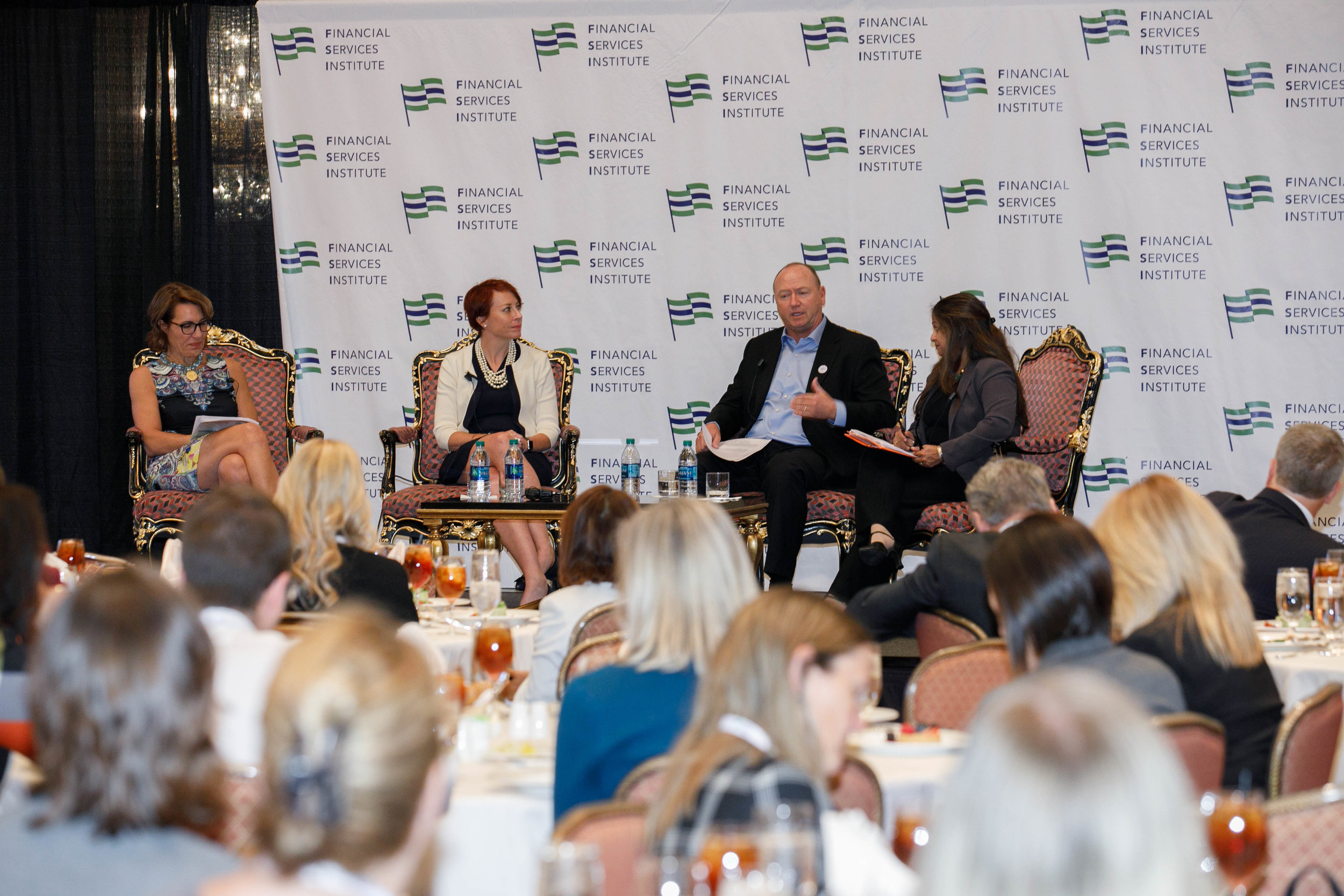Advancing Women in Leadership Workshop panel discussion at Financial Services Institute (FSI) Forum 2018 in Salt Lake City, UT. Pictured left to right, Samantha O'Neil, Amy Philbrook, Thomas Goodson and Sarita Bhagwat. Photo Credit:  Kinser Studios