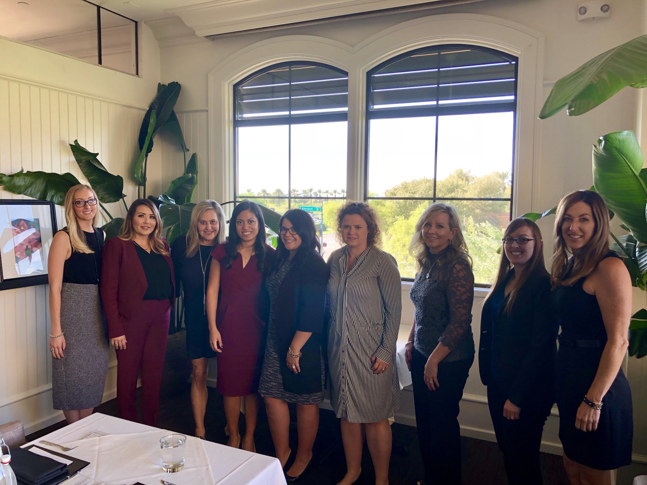 Pictured from left to right: Alissia Zenhausern, Angela Lowery, Lisa Payne, North Scottsdale Chapter Head Rea Mayer, Analise Zaremba, Unknown, Unknown, Unknown, and Susan Underwood.