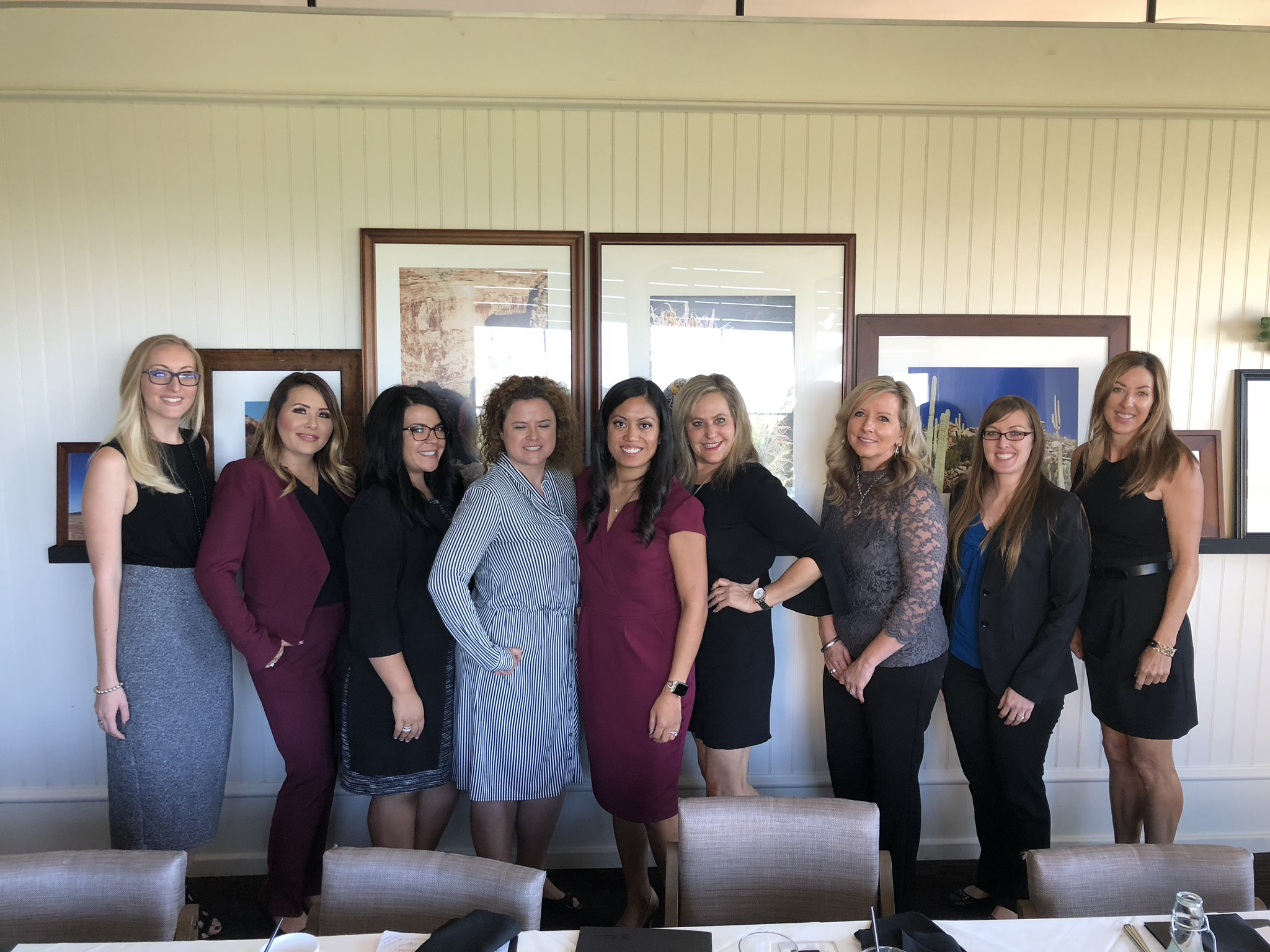 Pictured from left to right: Alissia Zenhausern, Angela Lowery, Analise Zaremba, Unknown, North Scottsdale Chapter Head Rea Mayer, Lisa Payne, Unknown, Unknown, and Susan Underwood.