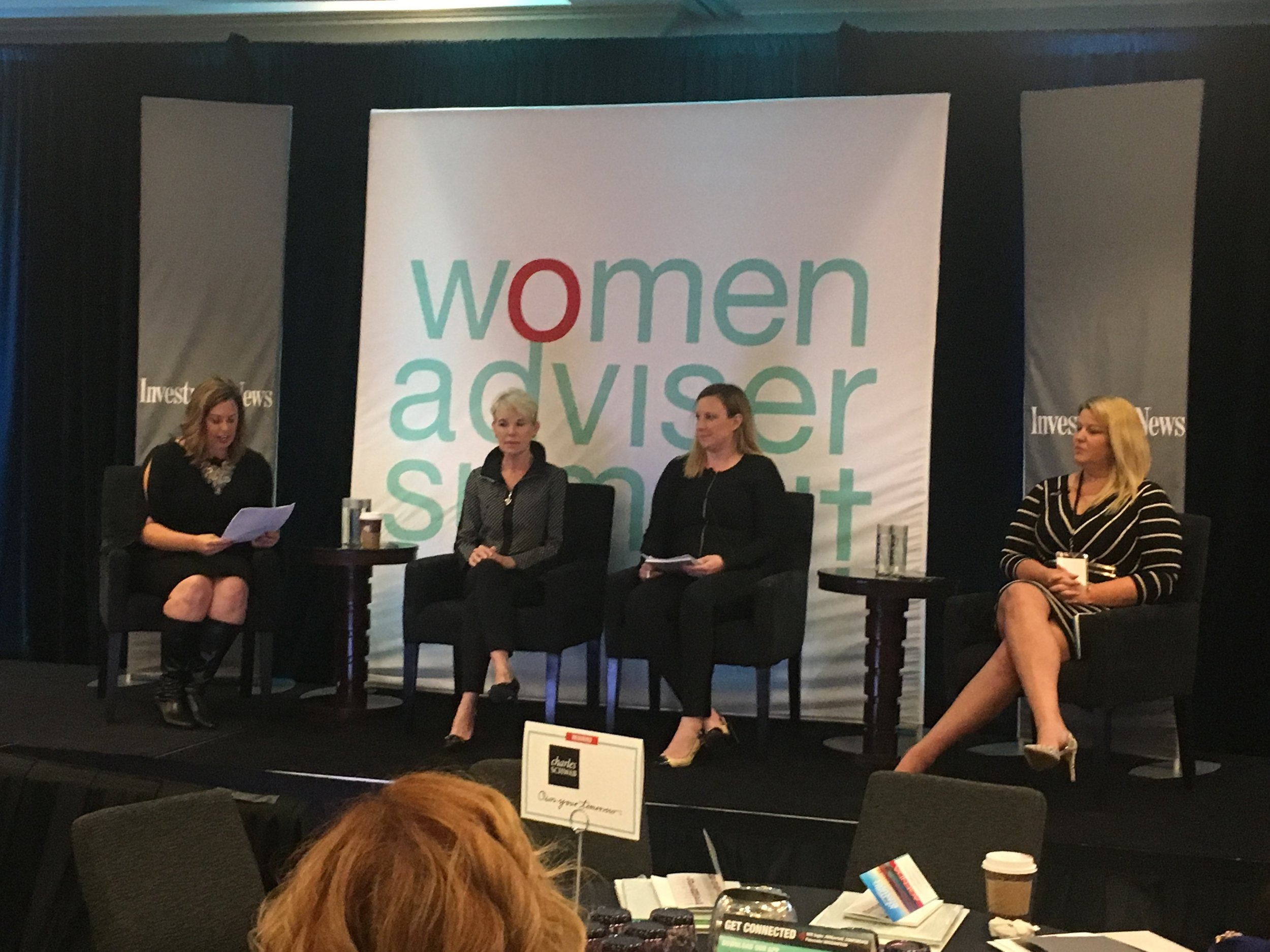 Cofounder of The W Source™ Hannah Buschbom (center right) discussing business growth strategies with Theresa Gralinski (left), Joni Youngwirth (center left) and Kristi Straw (right) at the InvestmentNews Women Adviser Summit in San Francisco, CA.