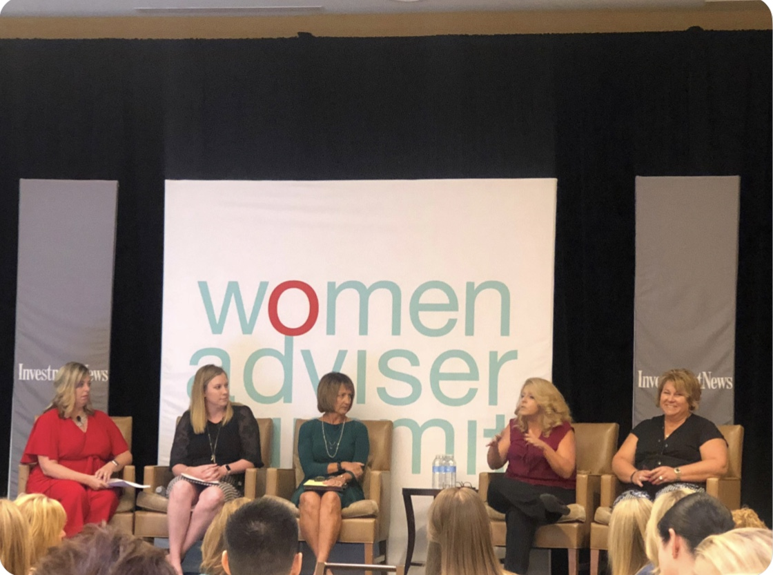 Cofounder of The W Source™ Hannah Buschbom (center left) discussing business growth strategies with Theresa Gralinski (left), Lisa Boyer (center), Sheryl Brown (center right) and Martha Macken Elliott (right) at the InvestmentNews Women Adviser Summit in Denver, CO. Photo credit:  @CeteraFinancial