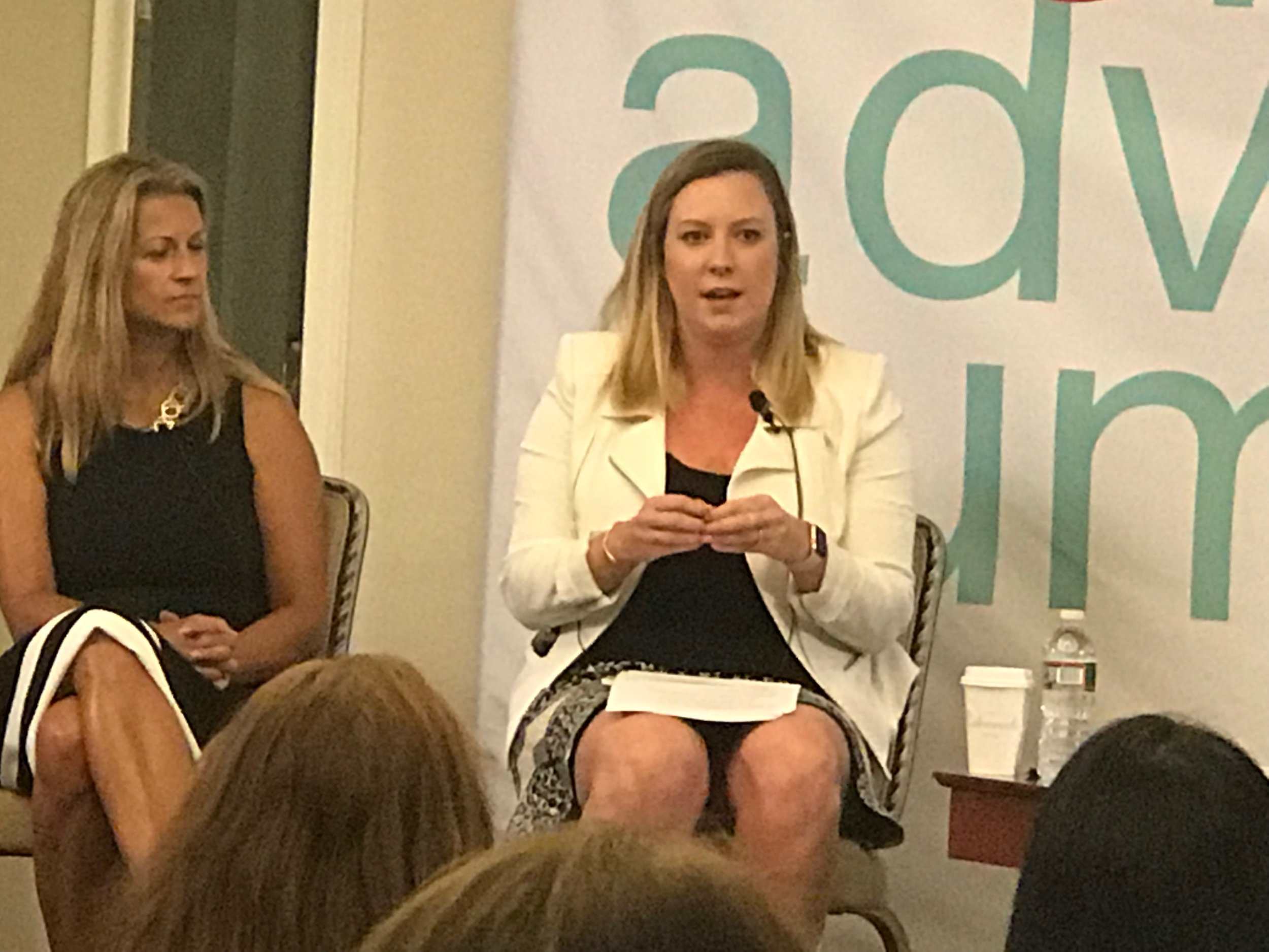 Cofounder of The W Source™ Hannah Buschbom (right) discussing business growth strategies on panel with Jennifer Baccarela (left) at the InvestmentNews Women Adviser Summit in Boston, MA.