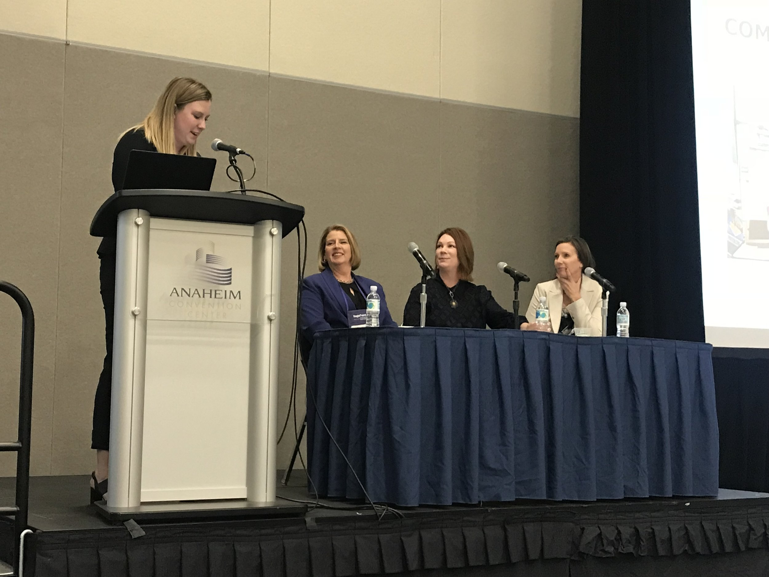 "Cofounder of The W Source™ Hannah Buschbom (far left) presenting ""Building a Female-Centric Professional Network: The Key to a Successful Practice"" at the Advisor Group ConnectEd Conference in Anaheim, CA with panelists Michele Leach (left), Michelle Brennan Hall (center), and Vickie Garcia (right)."