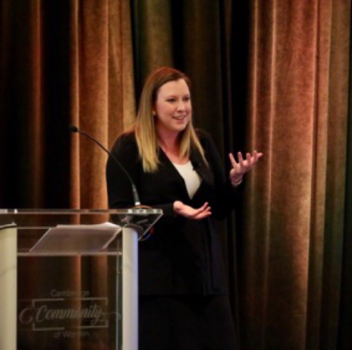 "Cofounder of The W Source™ Hannah Buschbom speaking to the Cambridge Community of Women on ""Intentional Networking"" at the Cambridge Women Advisers Summit in Fort Worth, TX. Photo Credit:  @CambridgeIBD"