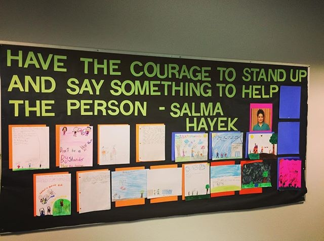 I created this bulletin board for October's Bullying Prevention Month. Students submitted drawings of them being up-standers! The Salma Hayek quote is from a video they watched during the guidance lesson.