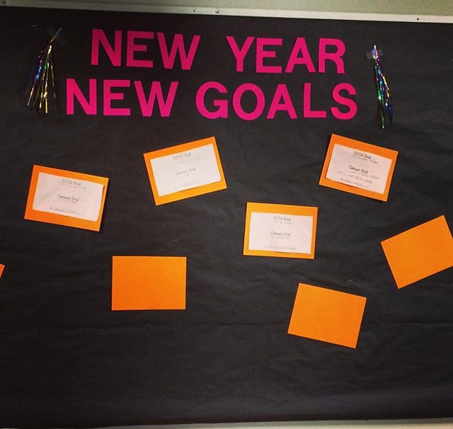 After winter break I created this simple bulletin board with some leftover tassels I found in my office. The students I was seeing for individual sessions wrote down their academic, personal, and, social goals for the new year. Download a free goal setting worksheet  here.