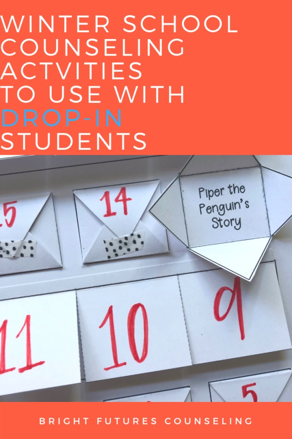 Learn how to use an interactive countdown calendar with 20 winter themed elementary school counseling activities. This resource is perfect for those students who drop in unannounced and you need a last minute activity! #brightfuturescounseling #elementaryschoolcounseling #elementaryschoolcounselor #schoolcounseling #schoolcounselor #winteractivitiesforkids #winterbreak #wintercounselingactivities