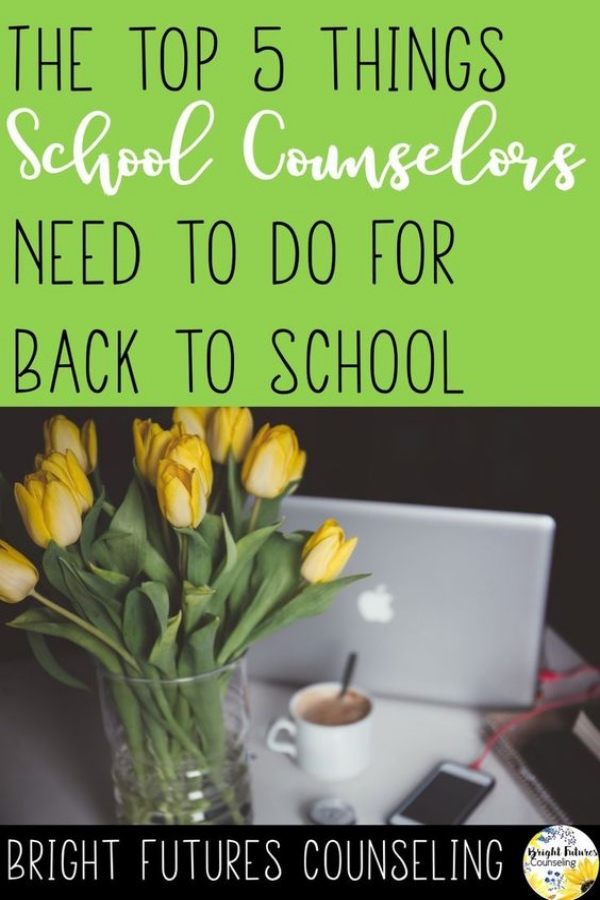 The top 5 things school counselors need to do to have a productive and smooth start to the school year. #brightfuturescounseling #elementaryschoolcounseling #elementaryschoolcounselor #schoolcounseling #schoolcounselor #backtoschool