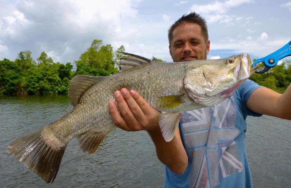 Barramundi luring Bolgoda Lake Sportfishing Lanka