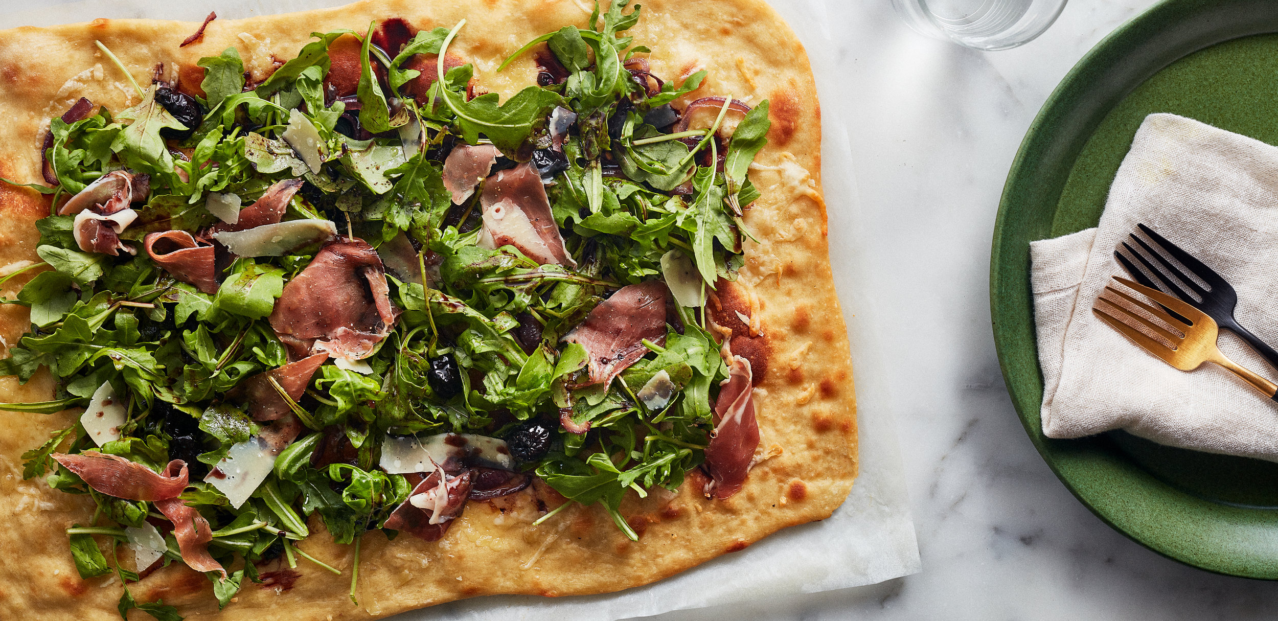 Prosciutto Pizza with Balsamic Cherries and Arugula — 0010 —HERO.jpg