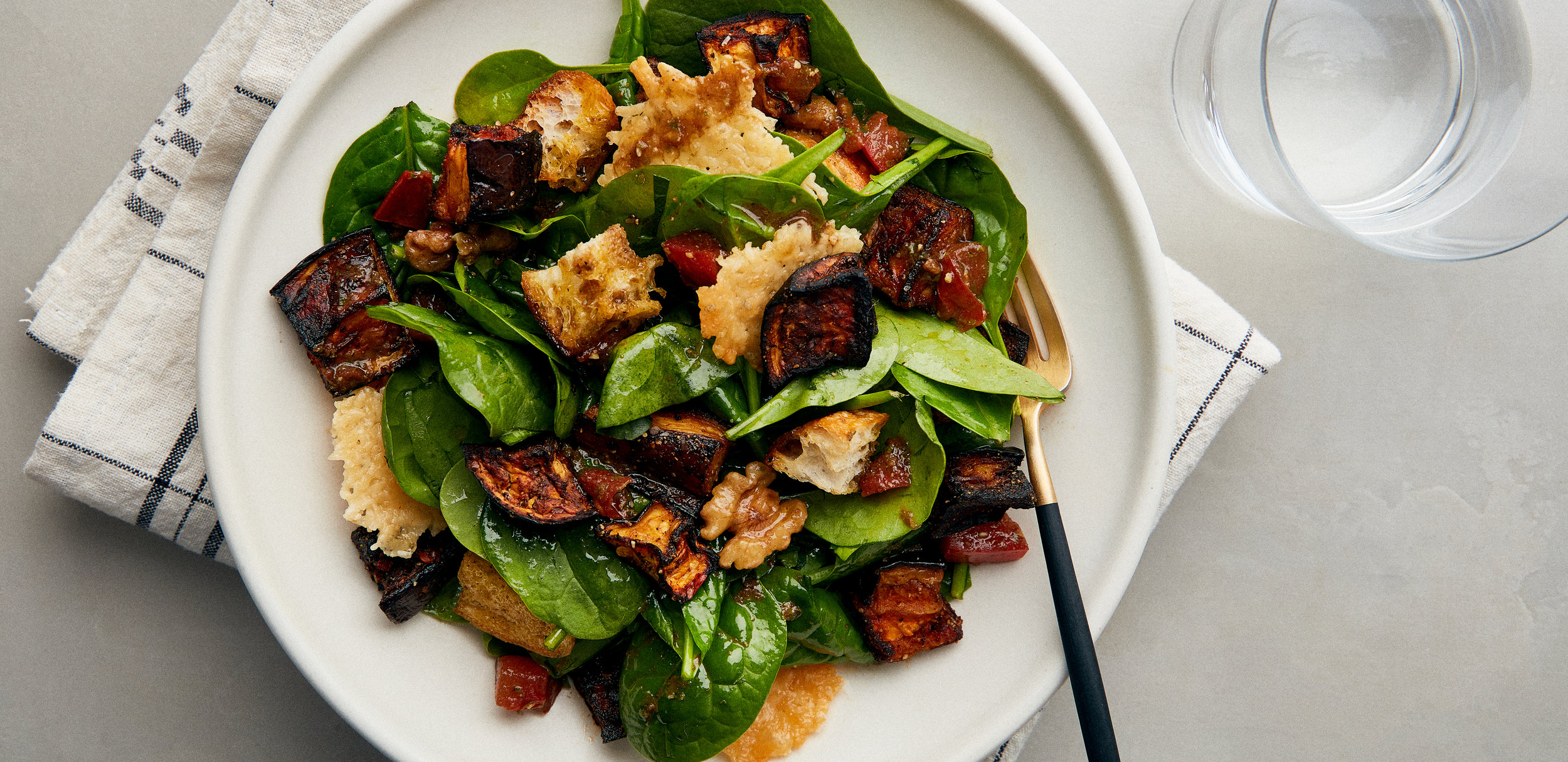 Roasted Eggplant and Tomato Salad With Frico, Herbs, and Rustic Croutons — 0032 — HERO.jpg