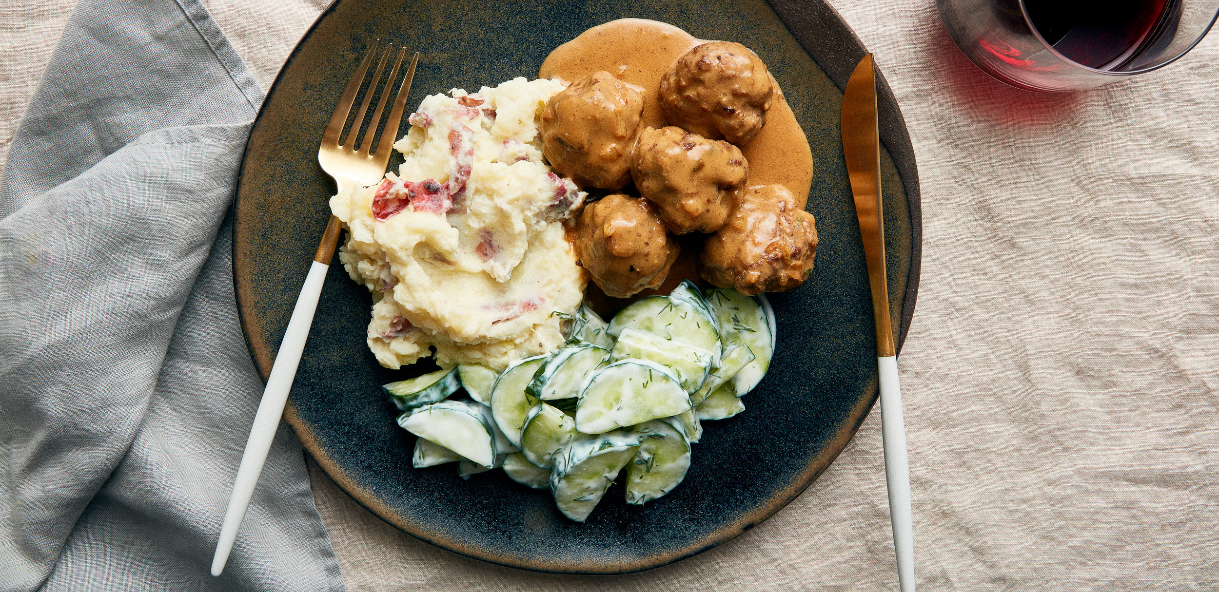 Swedish Meatballs with Mashed Potatoes, and Sour Cream Dill Cucumber salad — 0021 — HERO.jpg
