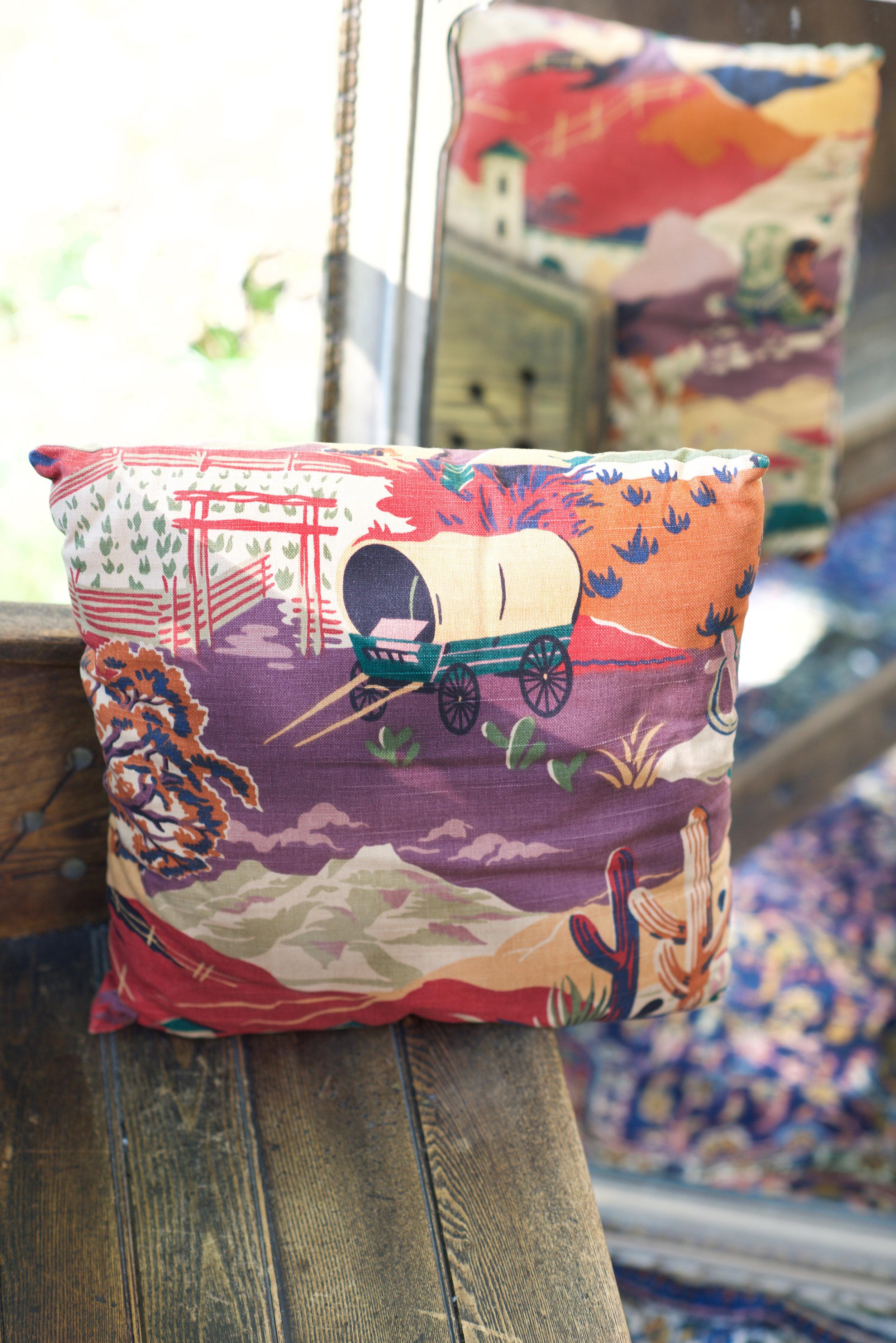 Heavy cotton, mid century, Mexican motif theme fabric.